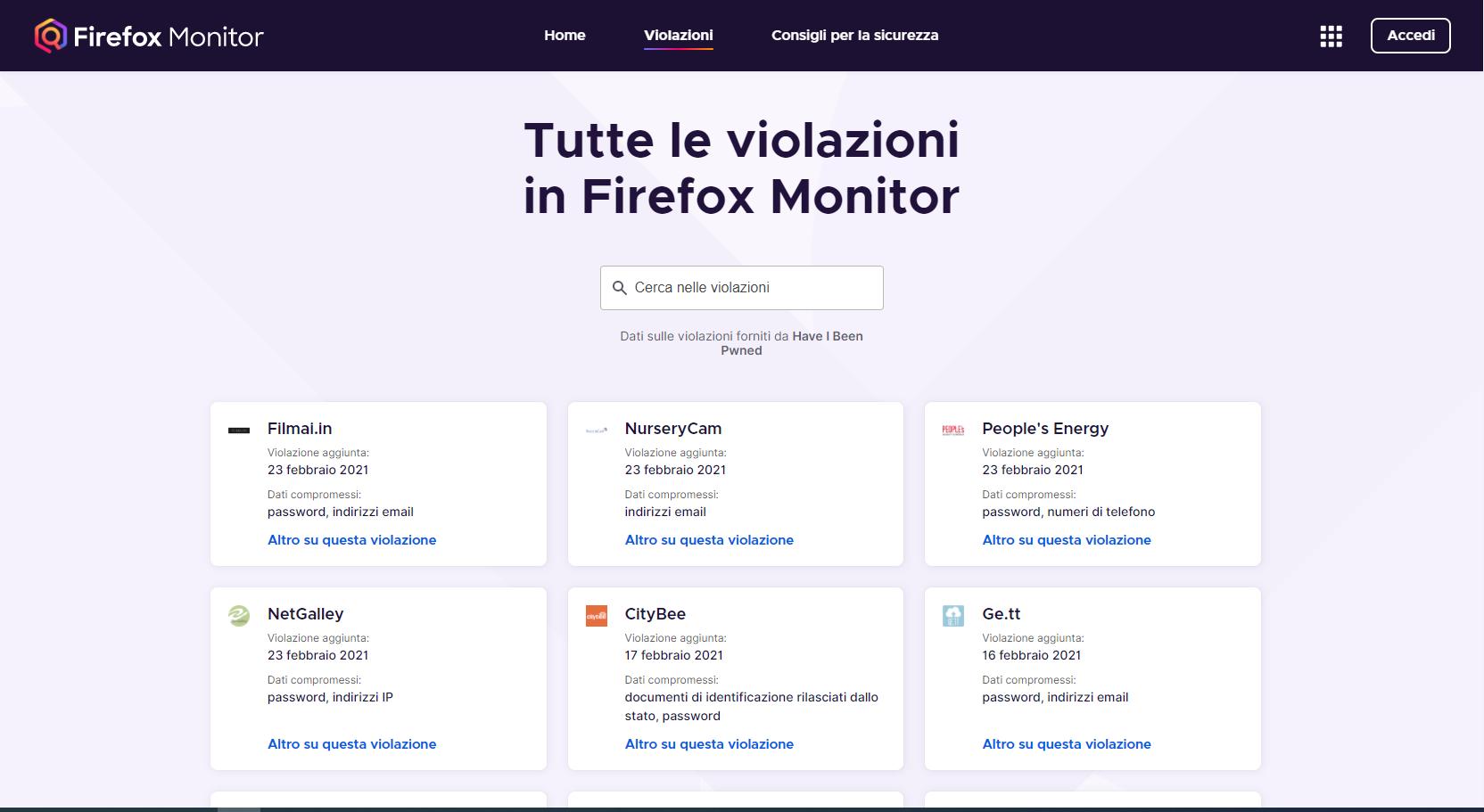 Firefox Monitor Violazioni