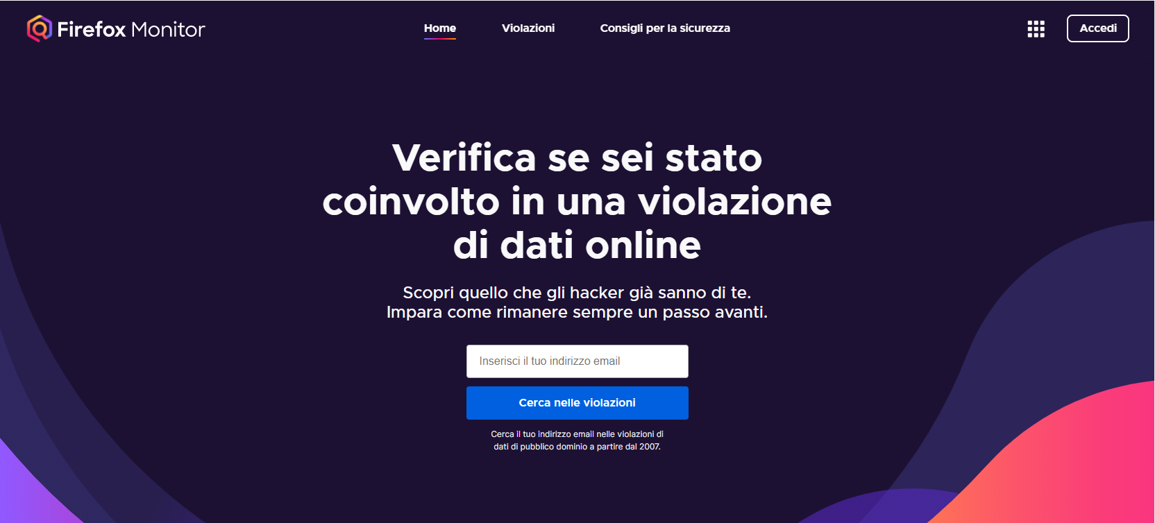 Firefox Monitor screenshot