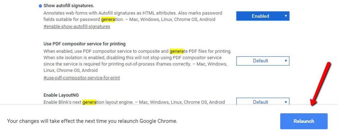 Gestione password Google riavvio browser