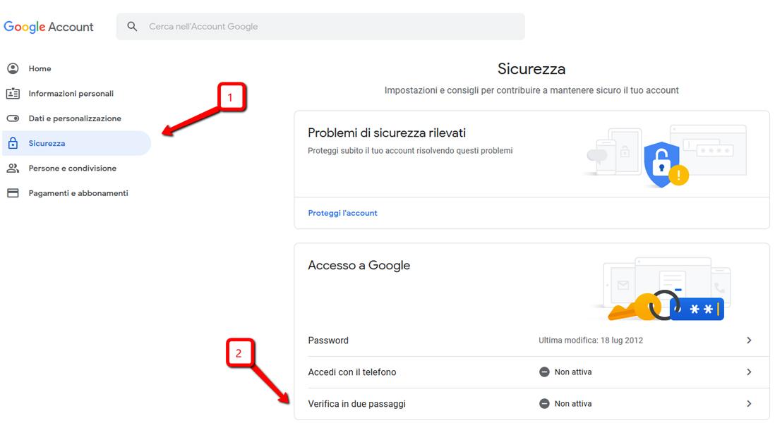 Autenticazione a due fattori Google attivazione 2