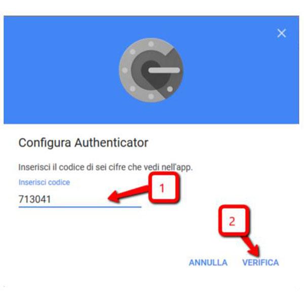 Autenticazione a due fattori app google authenticator configurazione