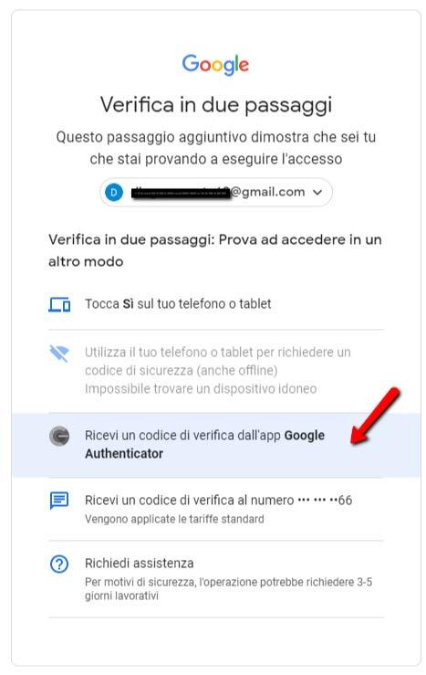 Autenticazione a due fattori app google authenticator verifica