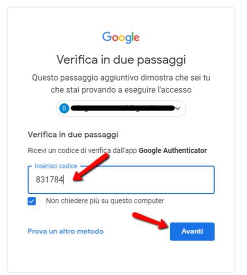 Autenticazione a due fattori app google authenticator accesso finale
